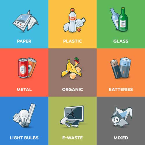 recycling information sheet with imagery about what can be recycled