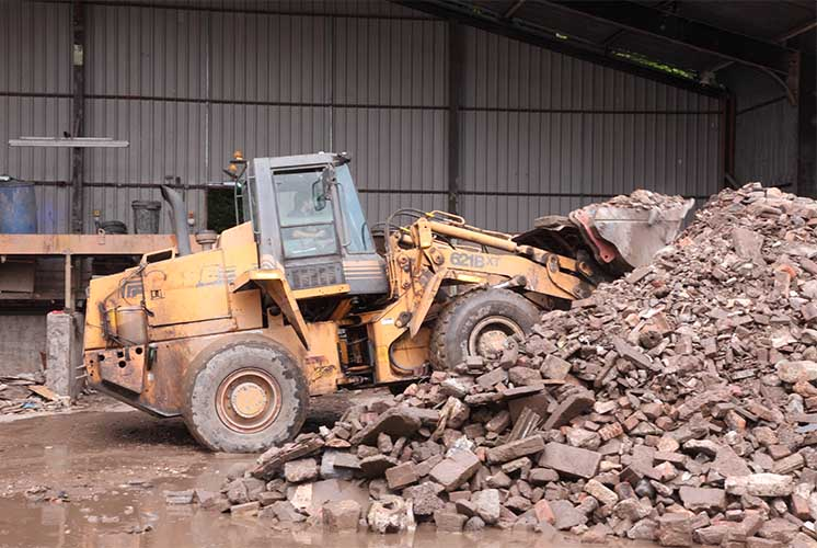 Construction waste being sorted