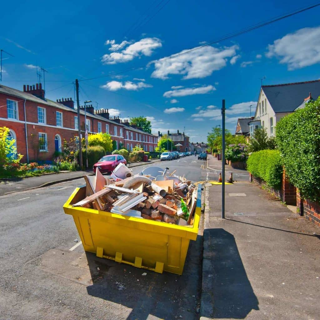 rubbish in a skip