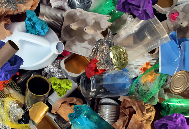Image of a pile of colourful rubbish piled up.