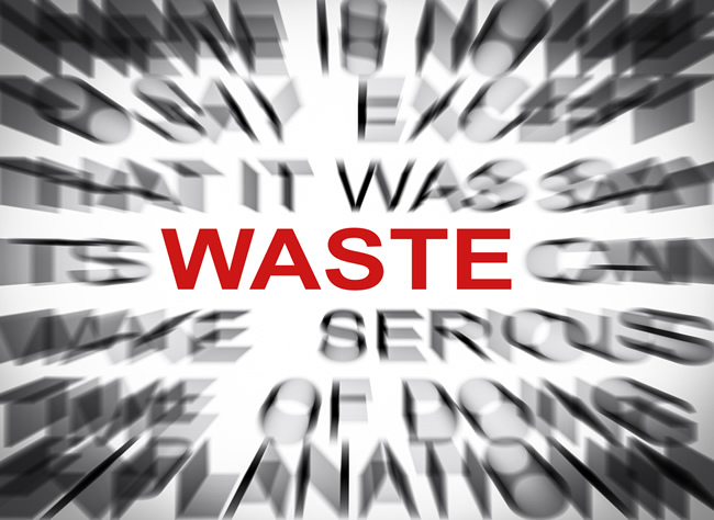 Image of the word Waste in red with text around blurred to only show off 'waste'